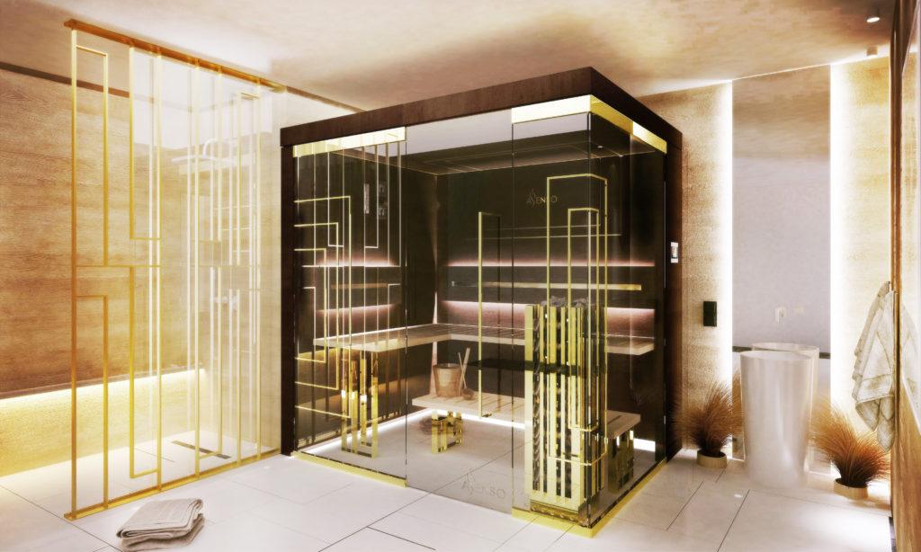 sauna domowa glamour gold