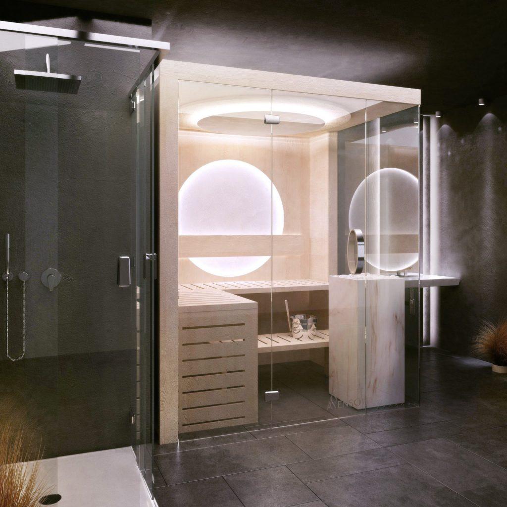Elegancka sauna domowa glamour marble