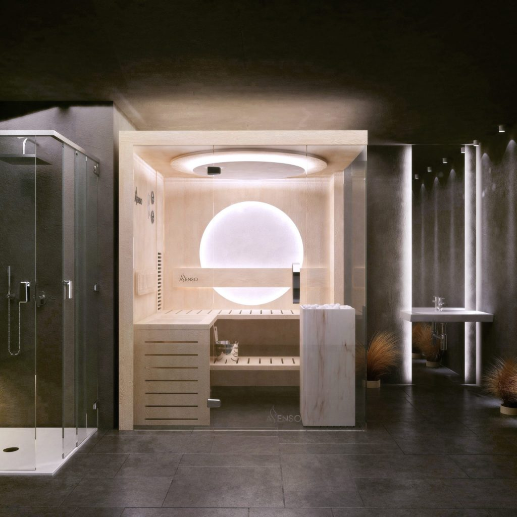 Sauna domowa glamour marble